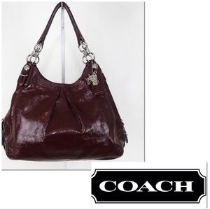 Coach Mia Merlot Wine Patent Leather Shoulder Bag